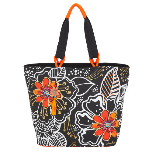 "White On Black Floral Shoulder Tote | 20.5""x 6.5""x 15"""