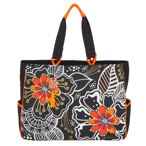 """White On Black Floral Oversized Tote