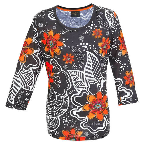 White on Black Floral 3/4 Sleeve T-SHIRT ($37.00-$42.00)