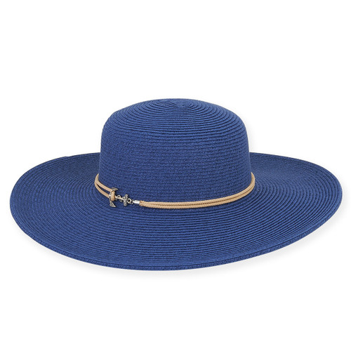 "Caribbean Joe® ROPE W/ANCHOR BRIM 4""  AZURE"
