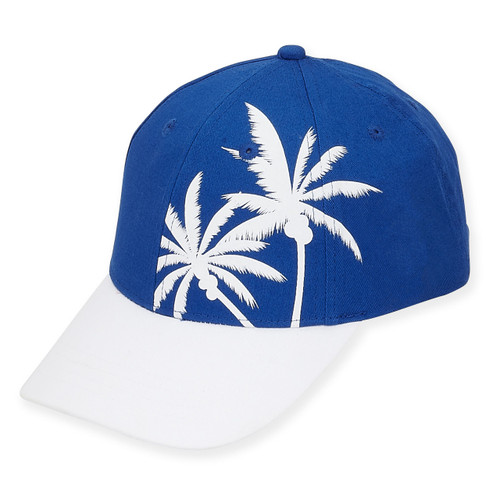 "BASEBALL HAT W/PALM TRE BRIM 2.75""  BEACHY"