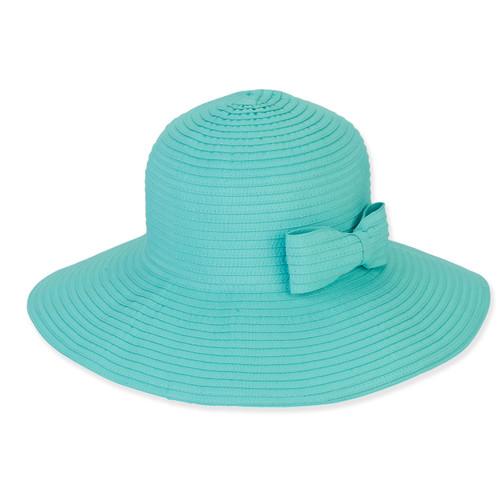 SEA GREEN, FOLDABLE HAT W/BOW TRIM