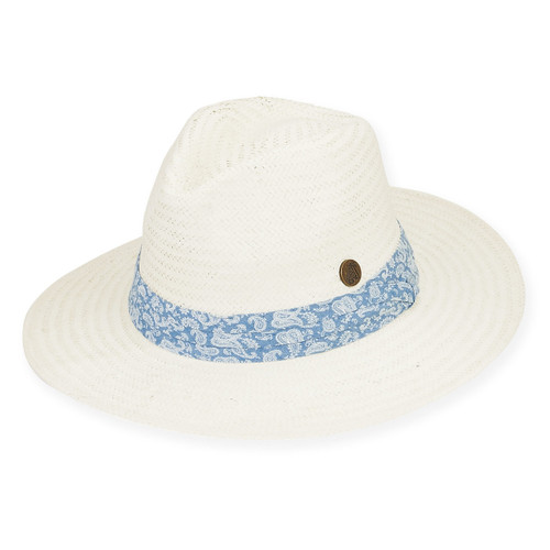 "HAT W/PLEATED PAISLEY COTTON  BRIM 3"" TURKS"