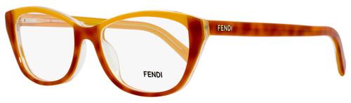Fendi Oval Eyeglasses F1002 249 Size: 52mm Light Havana/Clear 1002