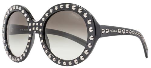 Prada Round Sunglasses SPR29Q 1AB-0A7 Shiny Black PR29QS