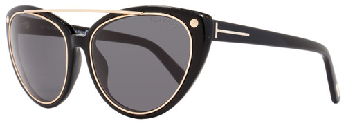 Tom Ford Cateye Sunglasses TF384 Edita 01A Shiny Black/Gold FT0384