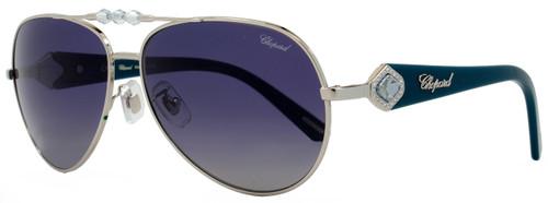 Chopard Aviator Sunglasses SCH997S 579P Palladium/Turquoise Polarized 997