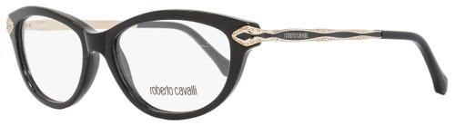 Roberto Cavalli Cateye Eyeglasses RC813 Alkalurops 001 Size: 52mm Shiny Black/Gold 813
