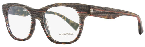 Alain Mikli Rectangular Eyeglasses A03025 B0D8 Size: 51mm Brown/Gray/Orange Striped 3025