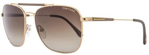 Tom Ford Square Sunglasses TF377 Edward 28K 58mm Rose Gold/Matte Sage FT0377