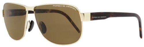 Porsche Design Rectangular Sunglasses P8633 B Light Gold/Havana 8633