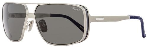 Chopard Rectangular Sunglasses SCHA80 Q39P Gunmetal/Navy Blue Polarized A80