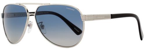 Chopard Aviator Sunglasses SCHB28 579P Shiny Palladium/Black Polarized B28