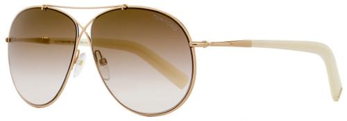 Tom Ford Aviator Sunglasses TF374 Eva 28G Rose Gold/Ivory FT0374