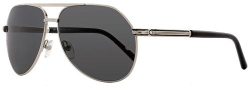 Montblanc Aviator Sunglasses MB504S 16A Shiny Palladium/Black 504
