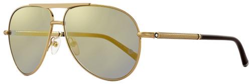 Montblanc Aviator Sunglasses MB517S 30C Rose Gold/Brown 517