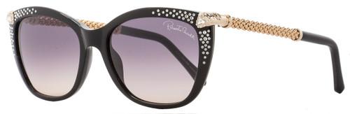 Roberto Cavalli Rectangular Sunglasses RC978S Talitha 01B Black/Gold 978