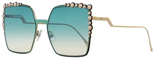 Fendi Square Sunglasses FF0259S 1EDJE Gold/Green Horn 60mm 259