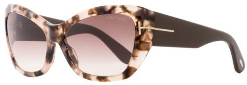 Tom Ford Rectangular Sunglasses TF460 Corinne 74P Rose Tortoise/Brown 58mm FT0460