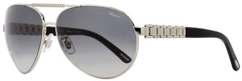 Chopard Aviator Sunglasses SCHA63S 0628 Palladium/Black 63mm A63