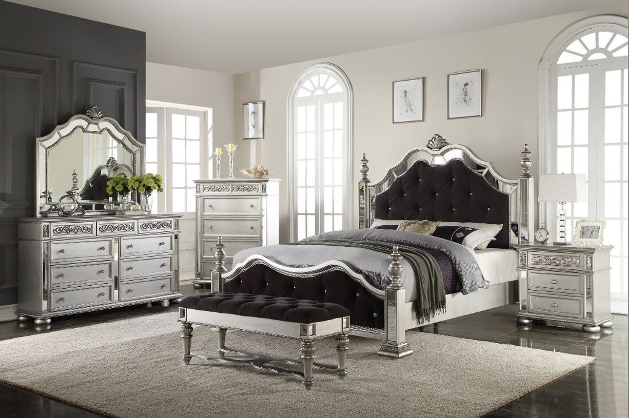 Silver/Black Queen Bedroom Set (5 Piece) - Mega Mattress LLC