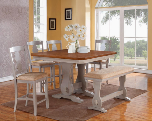 Gray and Natural Pub Table w/ Butterfly Leaf