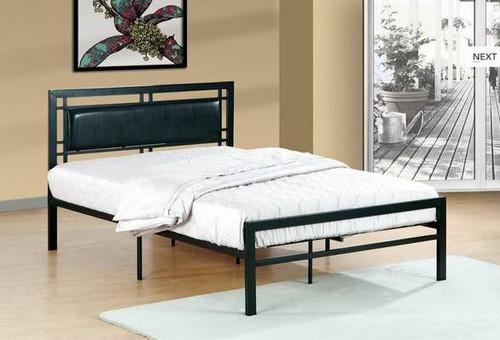 Black Metal Padded Bed - Mega Mattress LLC