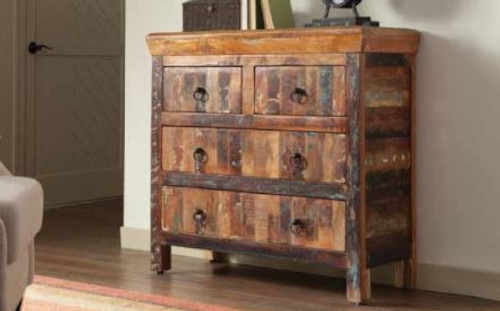 4 Drawer Reclaimed Wood Accent Cabinet