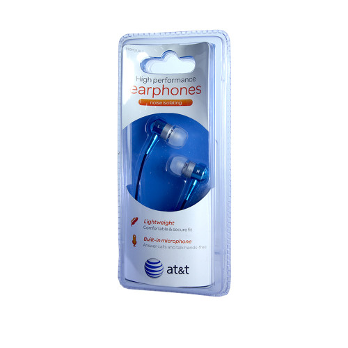 AT&T high performance noise isolating earphones with mic blue