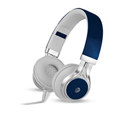 att stereo headphones with mic blue