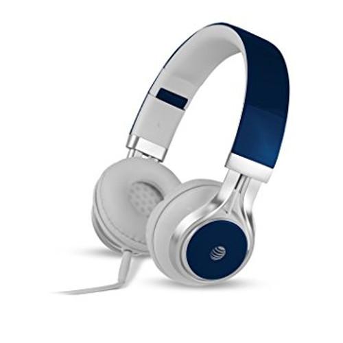 att stereo headphones with mic blue