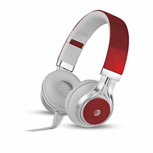 att stereo headphones with mic red