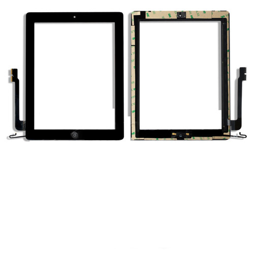 iPad 3-4th Complete Digitizer with Adesive & Home Button Black