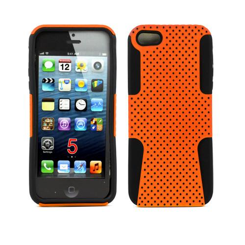 mesh hybrid case for iphone 5 orange-black