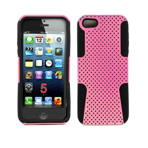 mesh hybrid case for iphone 5 pink-black