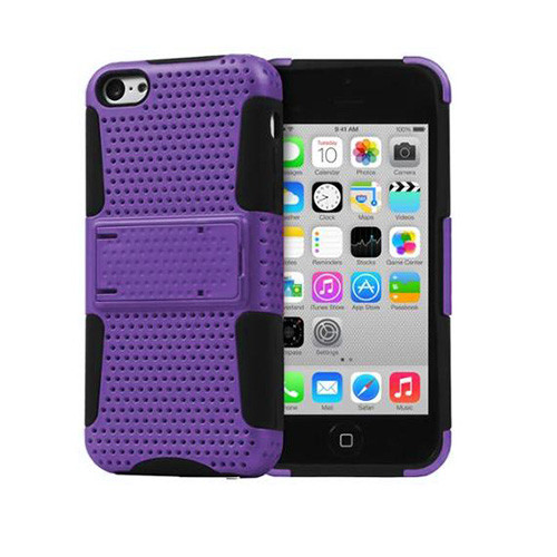 mesh hybrid case with kickstand for iphone 5 purple-black