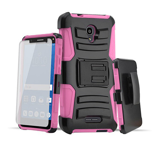 rugged hybrid case with kickstand and holster combo for iphone 6 pink-black