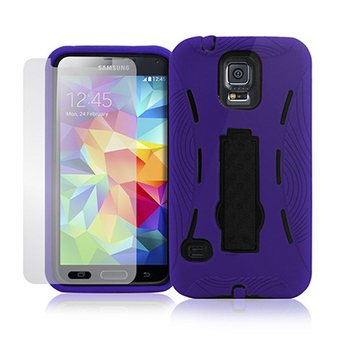 armor guard case with kickstand for iphone 6 purple-black