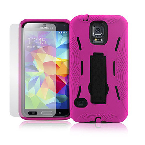armor guard case with kickstand for iphone 6 plus hot pink-black