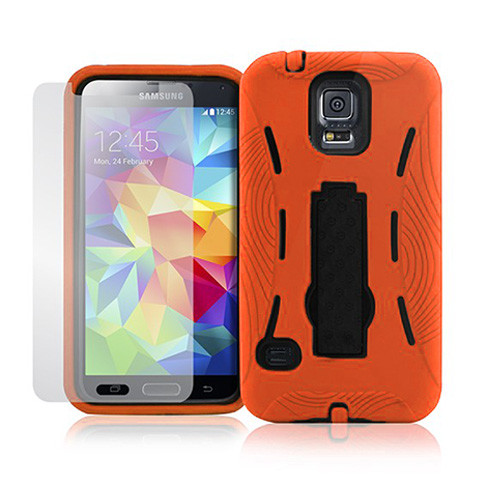 armor guard case with kickstand for iphone 6 plus orange-black