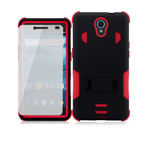 warrior guard case with kickstand for iphone 7/8 red-black