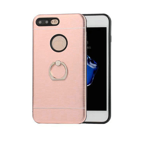glamour hybrid ring case with kickstand for iphone 7/8 rose gold-black