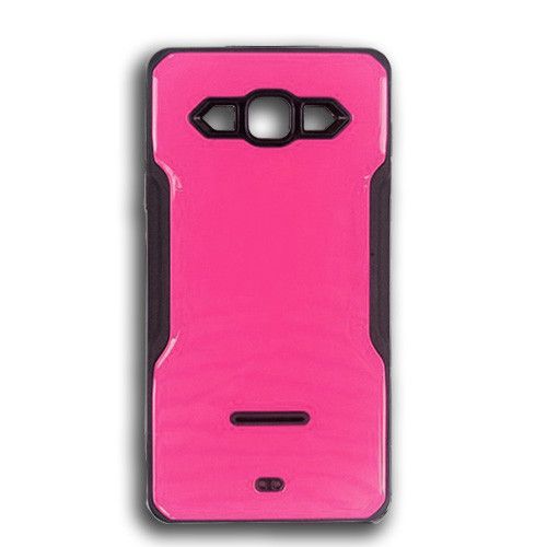 rigid tpu case with plate for iphone 7/8 plus hot pink-black