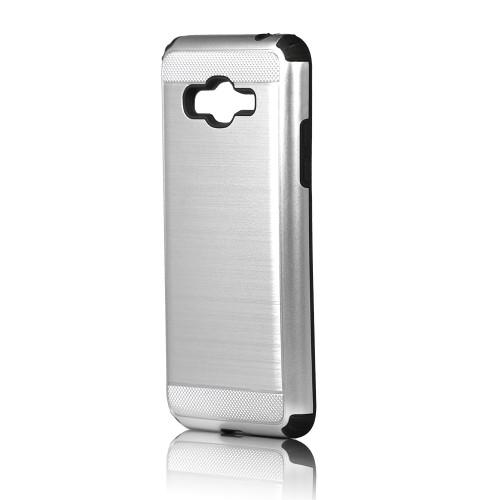 hard pod hybrid case for samsung galaxy j1 mini sliver-black