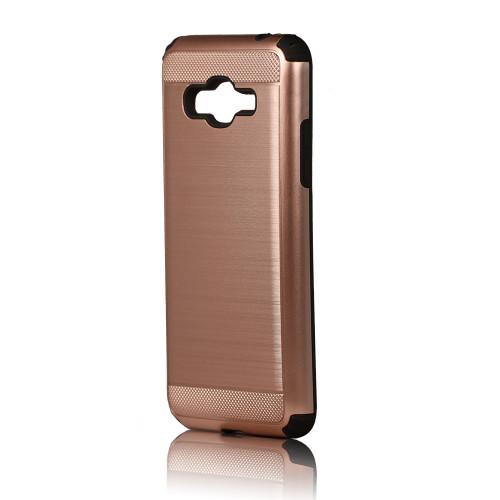 hard pod hybrid case for samsung galaxy j5 rose gold-black