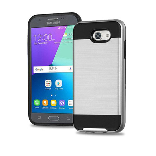 slim jacket hybrid case for samsung galaxy j710 silver-black