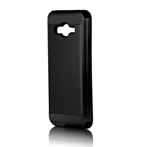 hard pod hybrid case for samsung galaxy j7 prime black-black