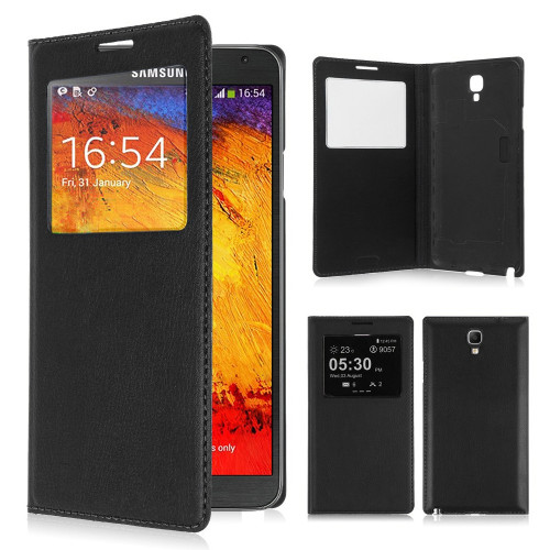 classic s view cover case for samsung galaxy note 4 black