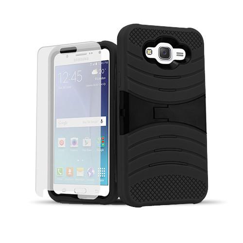 ultra rigid guard case with kickstand for samsung galaxy note 5 edge black-black