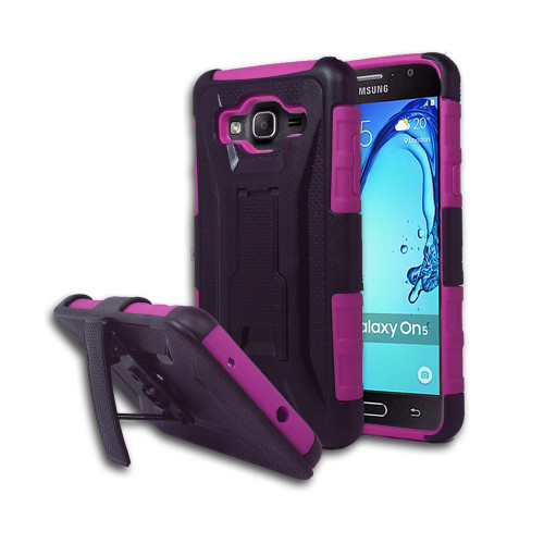 Guardian Hybrid Case with Kickstand and Holster Combo for Samsung Galaxy ON5 G550 Hot Pink-Black